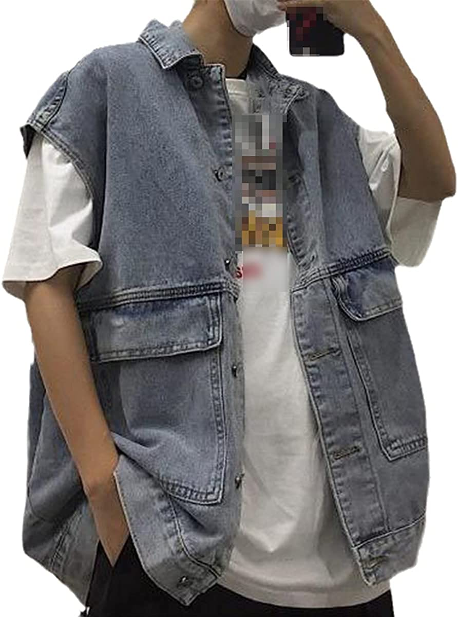 Men's Denim Retro Blue Loose XL Streetwear Daily Harajuku Jacket Classic Top