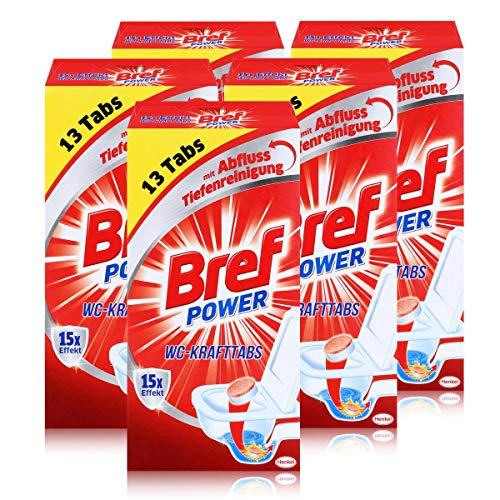 Bref Power 15x Effekt WC-KraftTabs (5 x 13 Tabs) Toiletten Reiniger (5er Pack)