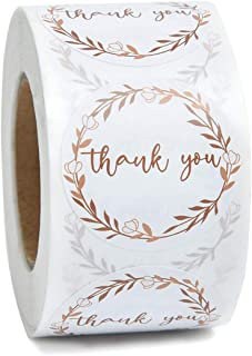1.5in Round Gold Wreath Thank You Lable Stickers 500 Labels Per Roll for for Wedding,Birthday,Baby Shower,Business Owner,Party Favor