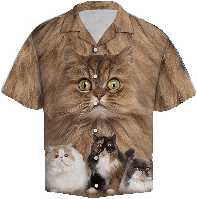 Lovely Cat Hawaiian Shirts for Men - Sunshine Button Down Mens Hawaiian Shirts Short Sleeve Series 8