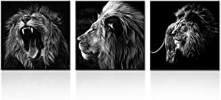 Kreative Arts - 3 Panels Lion King Black and White Canvas Prints Wall Art Modern Painting Wall Pictures for Living Room Office Decoration Ready to Hang (12x12inchx3pcs/set)