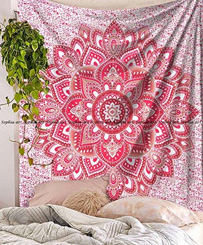 Indische Mandala Hippie Wandteppiche Wandbehang Einzigartige indische Wandteppiche Hippie Mandala Schöne handgemachte Tagesdecke Wanddekoration Königin Wandteppich (Rotbraune Blume, 86