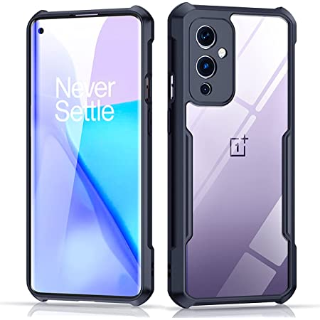 Xundd Case for OnePlus 9 (6.55 Inch) with Integrated Camera Cover, [Military Grade Drop Tested] Slim Clear Back with Shockproof Soft TPU Bumper Frame Cover - Black