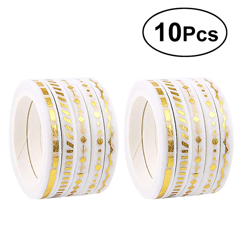 TOYMYTOY Gold Glitter Washi Tape Set Adhesive Washi Masking Decorative Tapes for DIY Crafts and Scrapbooking,10 Rolls