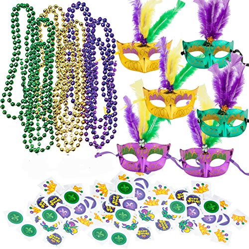 Lowest Prices! JOYIN Mardi Gras Party Supplies with 18 Beads Beaded Necklace, LED 6 Masks, 72 Tempor...