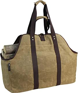 MyFirePlaceDirect Waxed Canvas Log Carrier Tote Bag, Extra Large Durable Firewood Holder with Handles and Shoulder Strap, Heavy Duty Wood Carrying Bag for Fireplaces & Wood Stoves