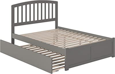 Atlantic Furniture Richmond Platform Bed with Flat Panel Footboard and Twin Size Urban Trundle, Full, Grey