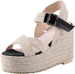 ◕。Women Fashion Plus Size Buckle Strap Platform Wedges Sandals Dressy Casual Summer Boho Beach Espadrilles Sandals