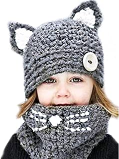 Baby Girls Boys Winter Hat Scarf Earflap Hood Scarves Caps (Grey(2-8 years old))