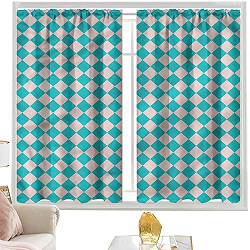 Cortinas de bloque para dormitorio geométrico, azulejos clásicos retro W52 x L63 pulgadas cortinas de bolsillo para barra para sala de estar