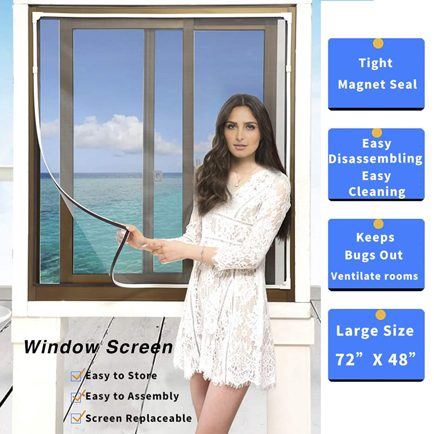 Magnetic Window Screen Size Up to 72