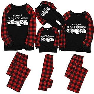 Conjunto de Pijamas Familiares Camiseta 2020 Pijama navideño de Manga Larga Rojo para Mama Papá Niño Mameluco del bebé