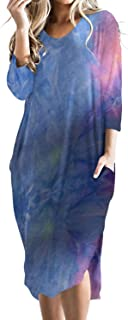 CNFIO Mujer Raya Vestido 3/4 Mangas Elegante Moda Vestido para Mujer