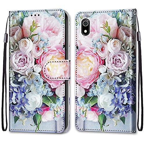 nancencen Kompatibel mit XiaoMi Redmi 7A Handyhülle, Flip Cover Schutzhülle (Anti-Fall) Kartenschlitz Portemonnaie Stil - Pinke Blumen