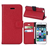 Iphone 6 Case , Sumer Flip Cover Case Retro Credit Card Holder Wallet for Apple Iphone 6 4.7 Inch (Litchi Red)