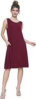Women's Knit Casual Dress Swing Summer Dress with Pockets