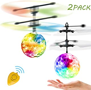 SEAFOND RC Flying Ball Glow Flying Toys for Kids Boys Girls Gifts,Indoor Mini Drones Hand Controll Helicopter, Rechargeable Light Up Ball Infrared Induction RC Drone Toy(2 Pack)