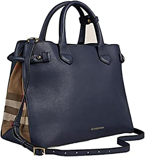 487b46c641 Tote Bag Handbag Authentic Burberry Medium Banner in Leather and House  Check INK BLUE Item 39830391