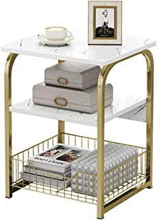 McMoLa End Table Sofa Side Table Bedside Desk Nightstand with Storage Basket for Living Room Bedroom Office Balcony White ...