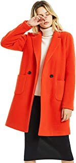 CASODA Women's Cashmere Wool Blend Coat Double Breasted Warm Trench Outerwear Pea Wallker Coat