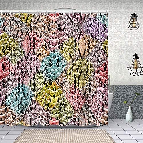 Cortina de Baño con 12 Ganchos,patrón de Textura de Piel de Serpiente Colorida,Cortina Ducha Tela Resistente al Agua para baño,bañera 180X180cm