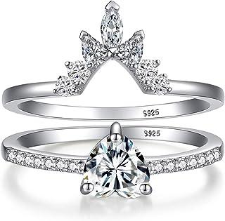 مجموعة خواتم قلب من الفضة الاسترليني أنجل للنساء خواتم الزفاف مجموعة خواتم الوعد خواتم لها، مكعب زركونيا الماس القلب مع صندوق