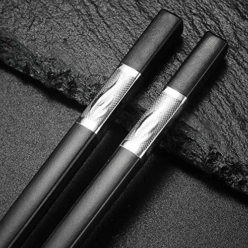 10-Pairs Fiberglass Chopsticks, Reusable Alloy Chopsticks Dishwasher Safe (silver leaves)