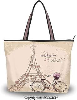 SCOCICI Tote Bag Oversized Shoulder Handbag Purse Paris,Bonjour Paris Eiffel To