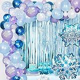 Frozen Guirnalda Globos, Fiesta Frozen Cumpleaños Decoraciones Frozen Blanco Azul Púrpura Copos de Nieve Decoracion Cumpleaños Globos para Bodas, Cumpleaños, Baby Shower, Niñas, Mujeres