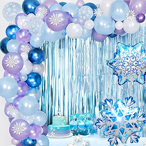 Frozen Guirnalda Globos, Fiesta Frozen Cumpleaños Decoraciones Frozen Blanco Azul Púrpura Copos...