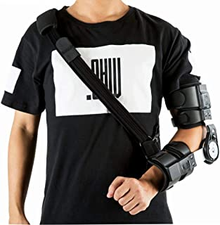 Hinged ROM Elbow Brace, Adjustable Post Op Elbow Brace with Strap for Support Post Op Injury Recovery (Left)