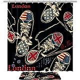 TIZORAX London Canvas Schuhe Bad Duschvorhang Set mit rutschfesten Bad Teppichen Bodenmatte Home Decoration