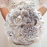 Fouriding Bouquet de Lujo Nupcial de la Boda Ramo de Flores Rose Ribbon Con Cuentas Rhinestone Decoración Del Hogar Suministros de la Boda