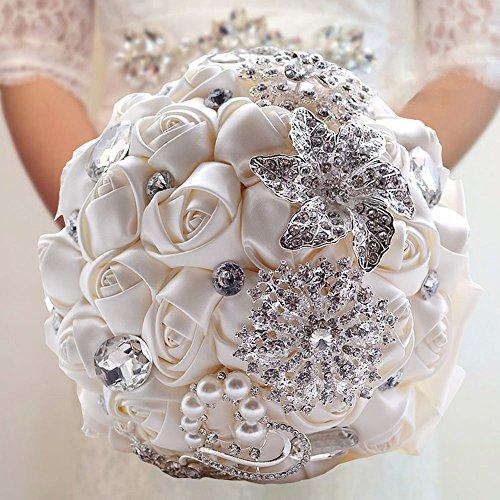 Fouriding - Bouquet da sposa, di lusso, con rose e nastro, con perline strass creme blanc