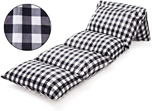 Ohnanana Kids Floor Pillows Bed Cover, Soft Plush,Perfect for Sleepovers Party,Lounger, Seating,Nap Mat,Reading Nook,Playing,Chair.Cover Only (Ink Plaid)