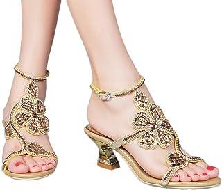 f3086d07eb8b8 jiandick Womens Floral Rhinestone Chunky Heels Evening Party Dress Low  Heeled Sandals