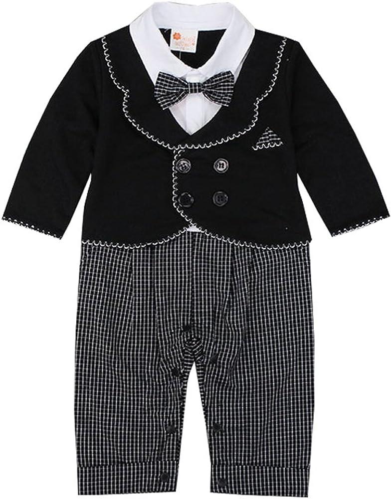 Belebo Baby Boy's Romper Long Sleeve Gentleman Tuxedo Suit Set with Bowtie