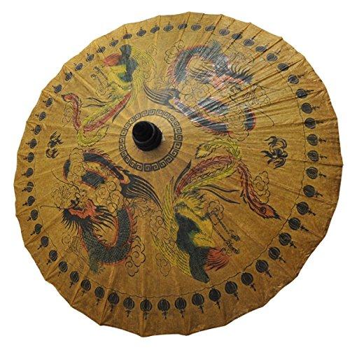 Ombrelle asiatique bois et papier Ø 80 cm, objet de décoration fabriqué et décoré à la main importé Thaïlande (80122)
