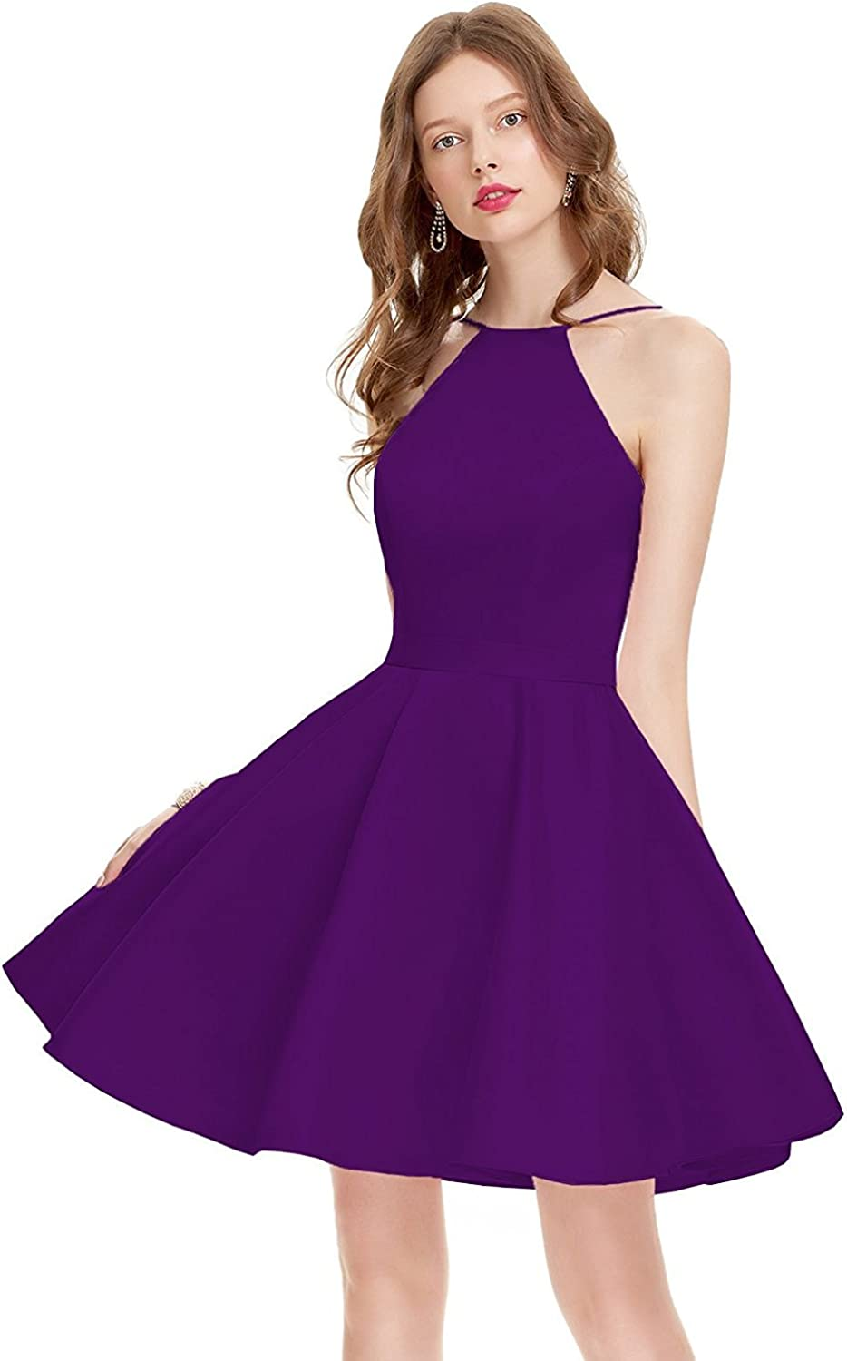 LiBridal Women's Short Spaghetti Straps Prom Dress Open Back Homecoming Party Gowns with Belt