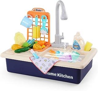 Temi - Juego de utensilios de cocina con agua corriente, casa de juegos de rol para niños y niñas, de simulación de lavavajillas con grifo de trabajo y drenaje, Azul