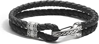 John Hardy Men's Classic Chain Silver Hook Station Bracelet on 5mm Black Leather Cord