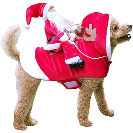 Amazon Com Kyerivs Dog Christmas Costume Dog Santa Claus Costume Dog Cat Christmas Holiday Outfit Pet Christmas Clothes Running Santa Claus Riding On For Medium To Large Sized Dogs L Pet