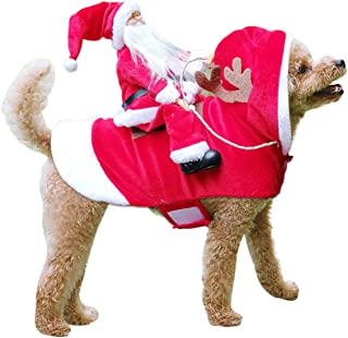 TOPNEW Pet Santa Christmas Costumes Santa Dog Costume Dog Warm Apparel Party Dressing up Clothing for Dogs Cats Pet Suit A...