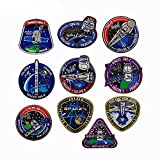 Set of 10 SPACEX CRS Falcon 9 Patch Dragon Space Explorer Decalse Tactic Military Sew On Emblem Jacket Vest Hat Backpack T-Shirt Costume Appliques