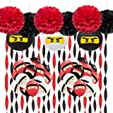 Krieger-Partyzubehör, schwarz und rot, Krepppapier, Luftschlangen, Ninja Ballons für Geburtstag,...