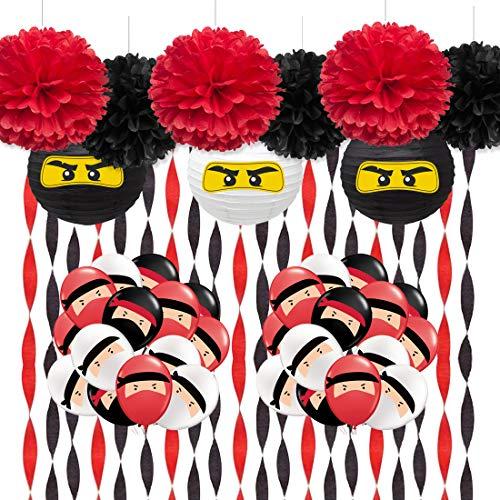 Suministros de fiesta de guerrero con decoración de fiesta, paquete negro y rojo, serpentina de papel crepé, globos ninja para cumpleaños, karate, judo, artes marciales