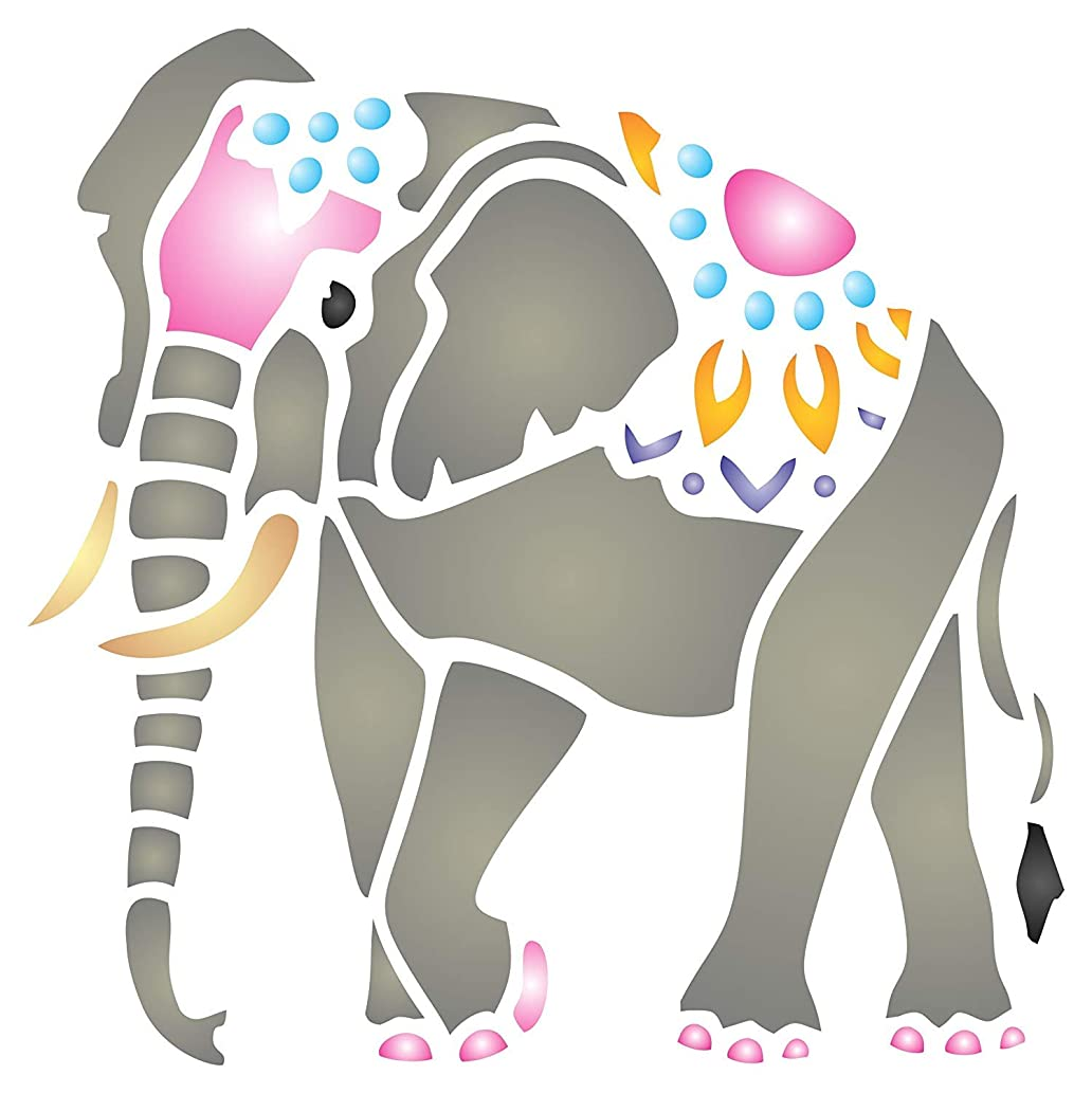 Indian Elephant Stencil - 4.5 x 4.5 inch (S) - Reusable Animal Kids Asian Stencils for Painting - Use on Walls, Floors, Fabrics, Glass, Wood, and More…