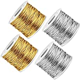 4 Pieces 436 Yards/ 1312 Feet Metallic Cords Metallic Sewing Threads Tinsel Cords Gold Silver Craft Making Cord