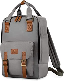 """Plambag 15.6"""" Laptop Travel Backpack, Water-Repellent Casual College School Daypack(Gray)"""