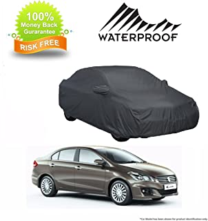 MotRoX 100% Waterproof Car Body Cover for Maruti Suzuki Ciaz (American Dark Grey-with Mirror Pocket and Piping)
